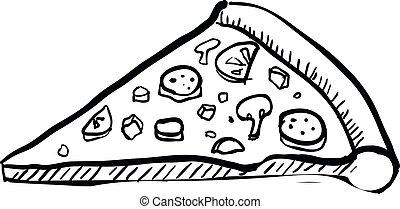 handdrawn, slice., vettore, illustrazione, pizza
