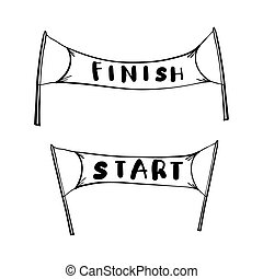handdrawn start and finish line banners, streamers, flags for outdoor sport event, competition race, run. with doodle cartoon style