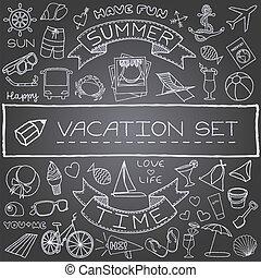 handdrawn, vacances, icônes