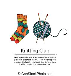 Handdrawn vector doodle logo. With knitted socks and threads...