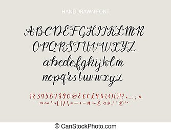 Handdrawn Vector Script font. Brush style textured...