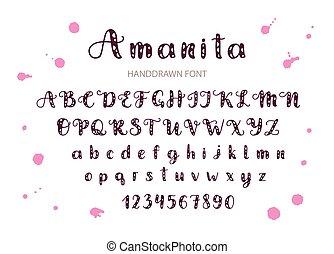Handdrawn Vector Script font.   Display style cartoon typeface.