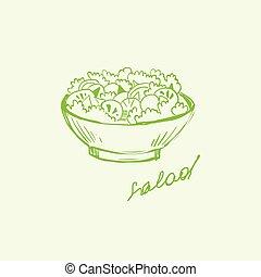 handdrawn, vektor, abbildung, salat, bowl.
