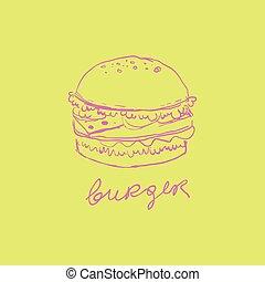handdrawn, vettore, hamburger, illustrazione