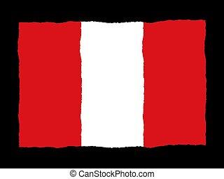 handdrawn, vlag, peru