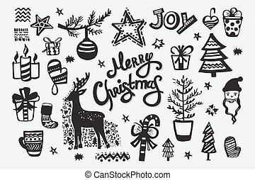 handdrawn, vrolijk, elements., verzameling, kerstmis