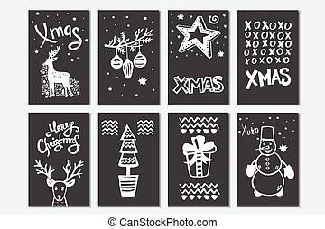 handdrawn, zalige kerst, verzameling, kaarten.