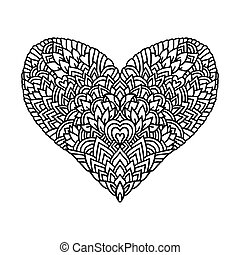 Handdrawn zentangle heart. Mandala style design for St. Valentine day cards. Coloring book pattern. Vector black and white doodle illustration.