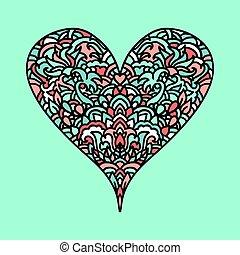 Handdrawn zentangle heart. Mandala style design for St. Valentine day cards. Coloring book pattern. Vector doodle illustration.