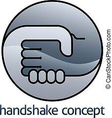 handdruk, concept, cirkel