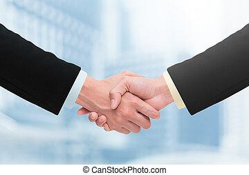handdruk, concepts., zakenlui