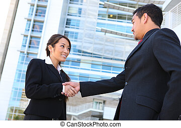 handdruk, handel team