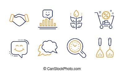 handdruk, management, gluten, iconen, set., kosteloos, vector, glimlachen, praatje, tijd, glimlachen, boodschap, signs., praatje
