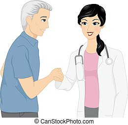 handdruk, patiënt, arts