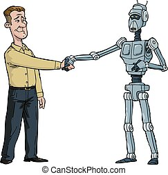 handdruk, robot, man