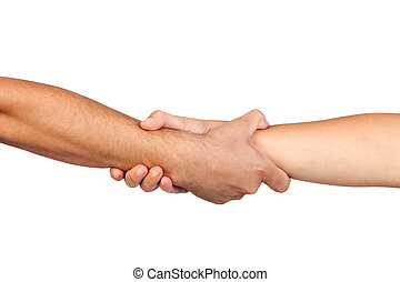handdruk, van, vriendschap