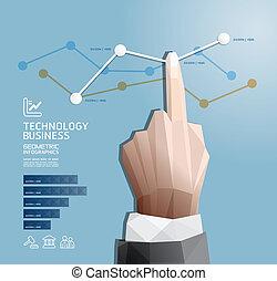 handdruk, vector, zijn, infographics, website, geometrisch, moderne, opmaak, banieren, genummerde, gebruikt, groenteblik, ontwerp, /, of, grafisch