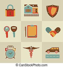 handdruk, verzekering, iconen