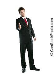 handdruk, volledige lengte, kostuum, zakenman, vriendelijk