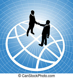 handdruk, zakenlui, globe globaal, overeenkomst