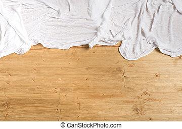 handduk, utrymme, trä, text, bakgrund, vit