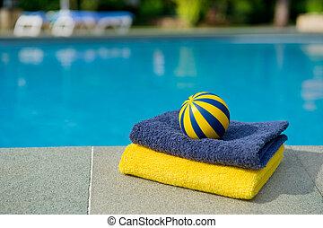 handdukar, och, toys, nära, den, badbassäng