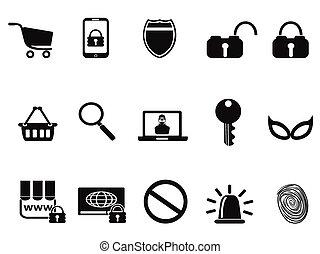 handel, bezpieczeństwo, komplet, e, ikony