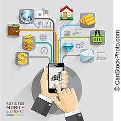 handel computer, network., zakelijk, hand, met, beweeglijk,...