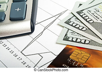 handel concept, -, betaalkaarten, rekenmachine, en, geld