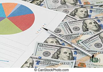 handel concept, geld, en, diagrammen