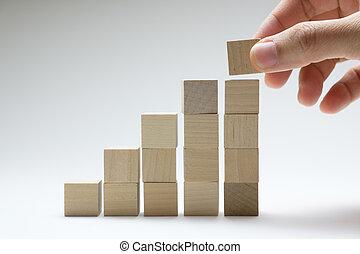 handel concept, groei, succes, proces, gebruik, hout, blokje, stapelen, boven.