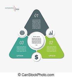 handel concept, ontwerp, met, driehoek, en, 3, segments.,...