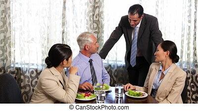 handel consorten, hebben, een, werkende lunch