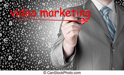 handel, człowiek, video, handlowy, pisanie