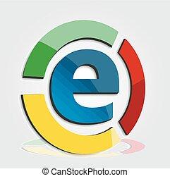 handel, e, barwny, logo