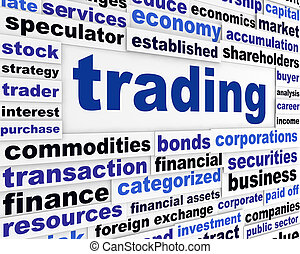 handel, finansiell, ord, design