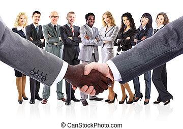 handel hands, gevormde, businesspeople, jonge, team, rillend