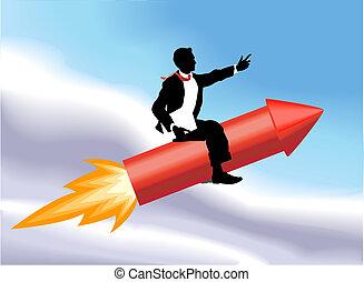 handel illustratie, man, concept, raket