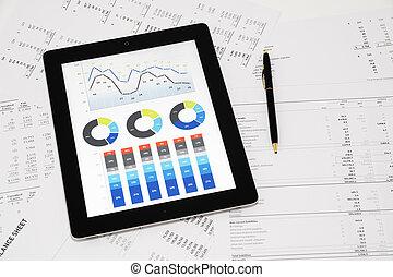 handel melding, op, digitaal tablet
