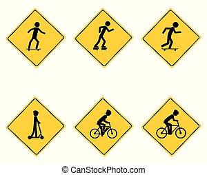 handel, ostrzeżenie, różny, znak, lekkoatletyka