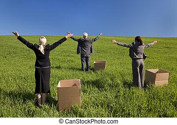 handel team, denken van buiten de doos's