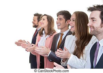 handel team, groep, applauding, in, vergadering