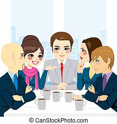 handel team, het bespreken