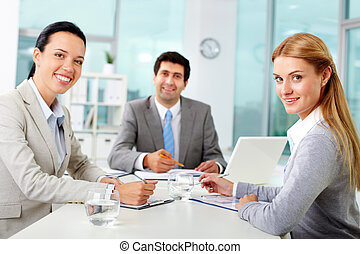 handel team, in, kantoor