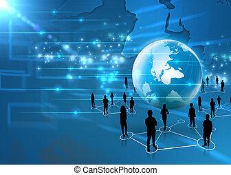 handel team, met, wereld