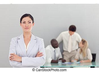 handel team, op het werk, in, kantoor