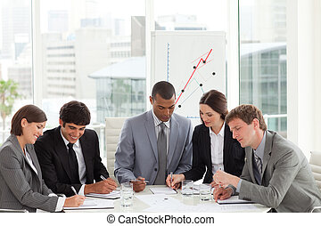 handel team, studerend , een, begroting, plan