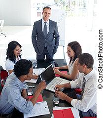 handel team, studerend , een, nieuwe zaken, plan