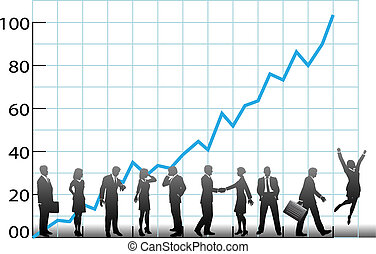 handel team, tabel, bedrijf, groei