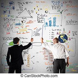 handel team, tekening, een, nieuw, complex, plan